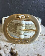Emporio Armani White Leather Canvas Logo Gold Buckle Women's Belt 42