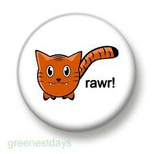 Rawr! 1 Inch / 25mm Pin Button Badge Tiger Lion Roar Feline Cats Fierce Cute