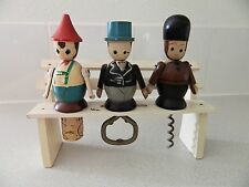 German Bavarian Wood Painted Bench Bar Set Corkscrew Bottle Opener Barware Vtg