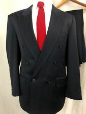 Holland and Sherry Bespoke Double Breasted Wool Suit Blue 42S 32x30 Surgeon cuff