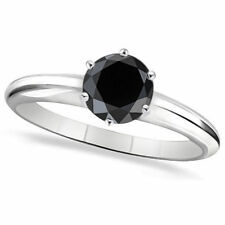 1.00 Cts CERTIFIED Black Diamond Solitaire Engagement Rings 14k White Gold