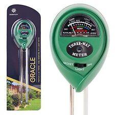 Premium 3-in-1 Soil Tester Meter (Moisture, pH & Light) With Bonus Garden Plant