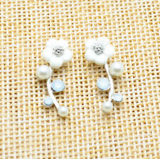 New Fashion Jewelry Lady Elegant Crystal Rhinestone Pearl Ear Stud Earrings