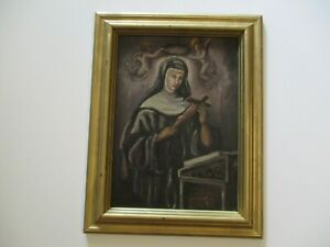 ANTIQUE OIL PAINTING AMERICAN RELIGIOUS ICON MADONNA ANGELS ICONIC 1920'S SIGNED