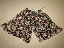 Influence brown rose floral chiffon lined culottes shorts skirt mini size 10