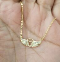 14k Yellow Gold Women Round Diamond Angel Wing Charm Pendant Chain Necklace