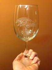 Baltimore Ravens Custom Etched Wine Glass