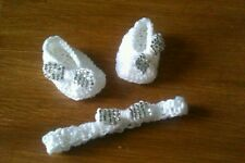 Handmade baby booties slippers ballet bling headband bow diamantes 0-3 months
