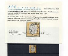 ANTICHI STATI 1862 SARDEGNA 80 C. GIALLO LIVORNO 31/7 C/9647