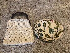 Vintage Bag Cover Purse Handles 4 Button Blue Tan  Floral Straw Fall