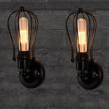 Vintage Wandleuchte 2stk. Industrie Metall Käfig Industrielampe RetrolampeDE E27