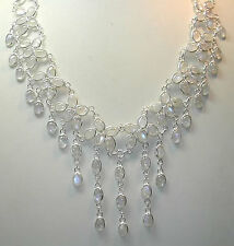 Statement Moonstone Necklace Sterling Silver Bridal Wedding Elegant