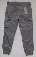 Levi's Banded Cargo Jogger Pants Slim Fit Gray Elastic Cuff Size 34x32