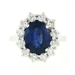 18k White Gold 5.07ctw AGL Sapphire Solitaire & Diamond Halo Princess Diana Ring