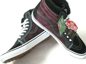 Vans Men's Sk8-Hi MTE All Weather Suede Skate shoes Black Port Royale Size 9 NWT