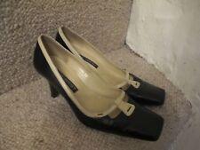 Nine West Vintage Style Black Cream Leather Court Shoes Size 5 38