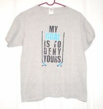 "Gildan Chalk Talk Sports Boys S/S Hockey Shirt Size L "" MY GOAL..DENY YOURS"" NEW"