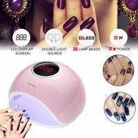 UV 72W Pro LED UV Nail Lamp Gel Nail Polish Light Nail Dryer Manicure Tool
