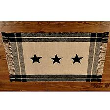 New Primitive Country Farmhouse Tan BLACK STAR Woven Floor Mat Area Rug