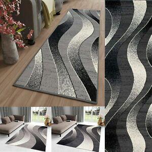 Modern Grey & Dark Grey Rug / Runner TAPISO Short Pile Rugs Waves Stripes Carpet