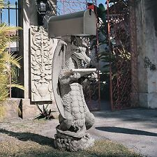 Mythological Mediveal Zippy Gothic Dragon Resin Sculptural Guardian Mail Post
