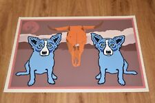 George Rodrigue Blue Dog Moo Cow Blues Silkscreen Print  Signed Numbered Art
