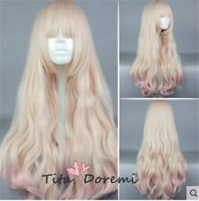 Lolita Blonde Mix Pink Long Curly Fashion Party Cosplay Wig Heat Resistant