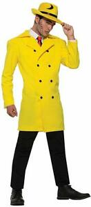 Gangster Jacket Pop Art Yellow Dick Tracy Coat Halloween Adult Costume Accessory