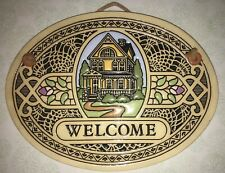 Trinity Pottery Yellow Country House Welcome Plaque Sign  Spooner Wisconsin