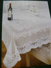 "FLORAL CREAM THICK LACE STAIN RELEASE EASYCARE TABLECLOTH 60""X90"" OBLONG £12 49"