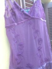NEW Zara Lingerie Style Lace Top Blouse in Purple (Mauve) size M