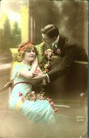 Lovers valentine courting couple postcard hand coloured antique ZED 639