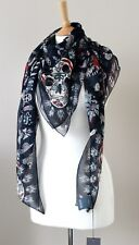 ALEXANDER MCQUEEN Underwater Sea World Blue Hand Rolled Chiffon Silk Scarf 138cm