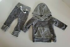 Lulu And Roo Grey Stripe NB Pull Over Hoodie & Pants Preloved Newborn