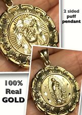 GOLD Jesus virgin Mary Guadalupe Pendant 10k Yellow 2 Side necklace 3D 1.40""