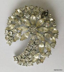 Vintage Brooch Pin SIGNED WEISS Clear Crystal Rhinestone Silver tone  lot u