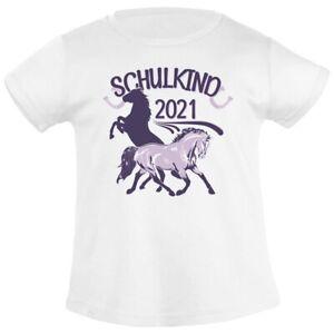 Einschulung & Schulanfang Schulstart Schulkind 2021 Pferde Mädchen T-Shirt