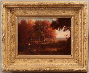 19thC Antique American Hudson River Autumn Cow Landscape Oil Painting Gilt Frame