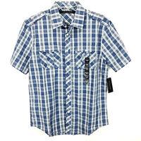 Sean John Mens Button Down Shirt Sz M Medium Blue Plaid Short Sleeve NWT $54