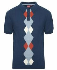 """Merc Clothing """"Ansell"""" Argyle Pattern Knitted Polo Shirt, Mod, 60s, Scooter,Soul"""