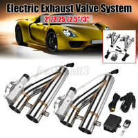 "2x 2.25"" Electric Exhaust Valve Catback Downpipe Y-Pipe Cut System W/ Remote ##"
