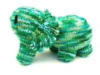 Handmade Amigurumi Knit Crochet Green Elephant Soft Plush Stuffed Animal Toy