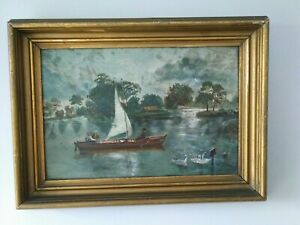 Charming Antique Victorian OIL PAINTING Lake Boat Swans Gilt Frame