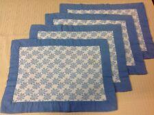 Handmade Vintage Blue DAISEY Placemats 4 pc Set