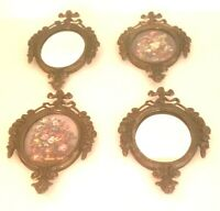 "Set Of 4 Vintage ITALY Ornate Metal Victorian Frames 2 Floral 2 Mirrors, 6"" x 4"""