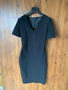 M&S COLLECTION SHIFT DRESS Black Stretch Bodycon UK 8 / 36 - VGC
