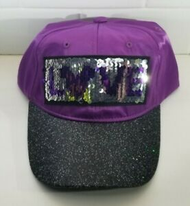 Disney Parks Mickey Mouse Ears Hat Purple Youth Size LOVE in Sequins Brand New