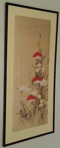 Vintage Gouache Print - Botanical - VGC- Unsigned  Framed Dated 1991