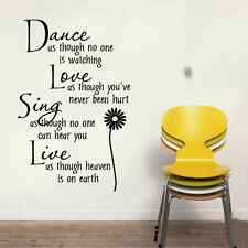 Wall Sticker Dance Like No One Is Watching Love Sing Live Quote Decal Decor