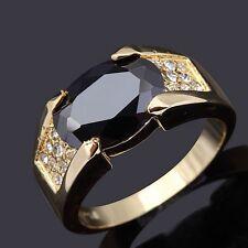 Mans Size 11 Princess Cut Black Topaz 14K Gold Filled Fashion Engagement Rings